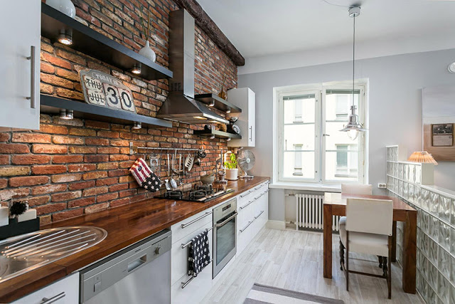 Interior mini apartamento con ladrillo r stico virlova style - Ladrillo visto rustico ...