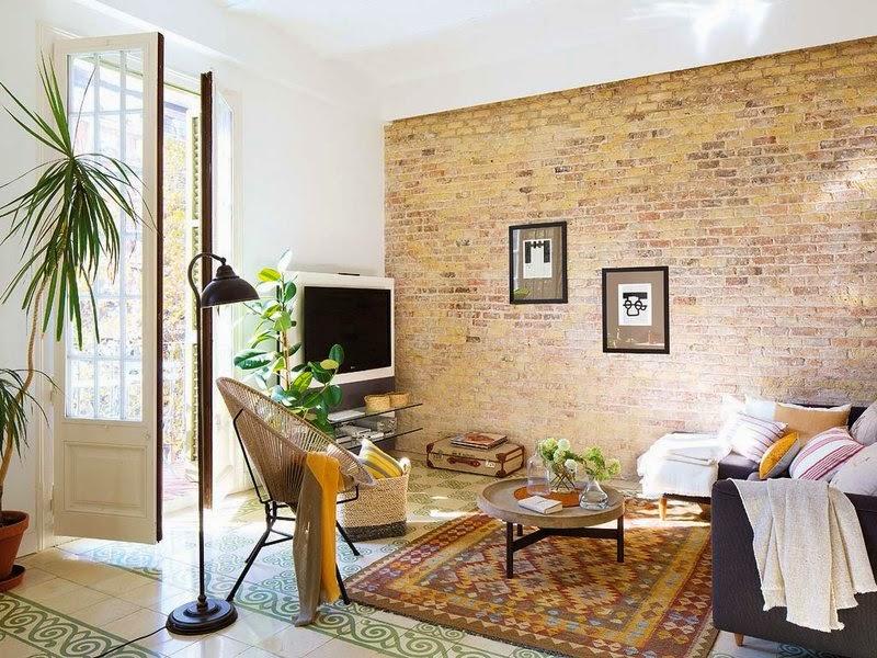 Interior mini apartamento ecl ctico virlova style for Paredes focales