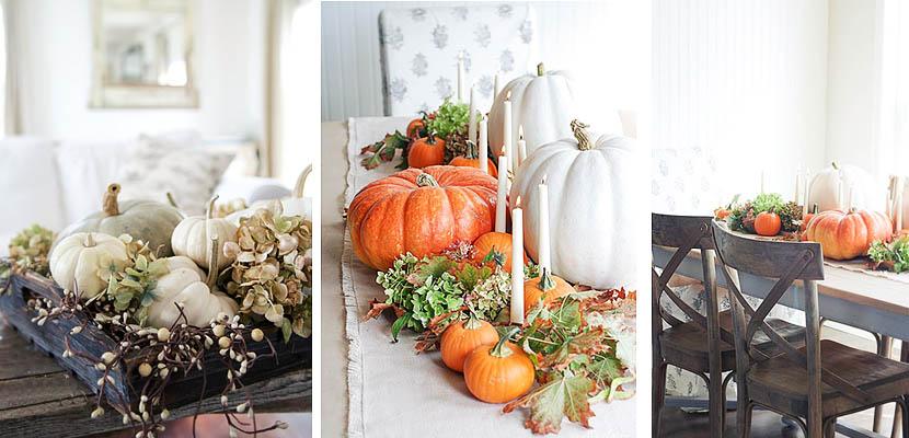 Deco Mesas de Halloween con calabazas y elementos naturales