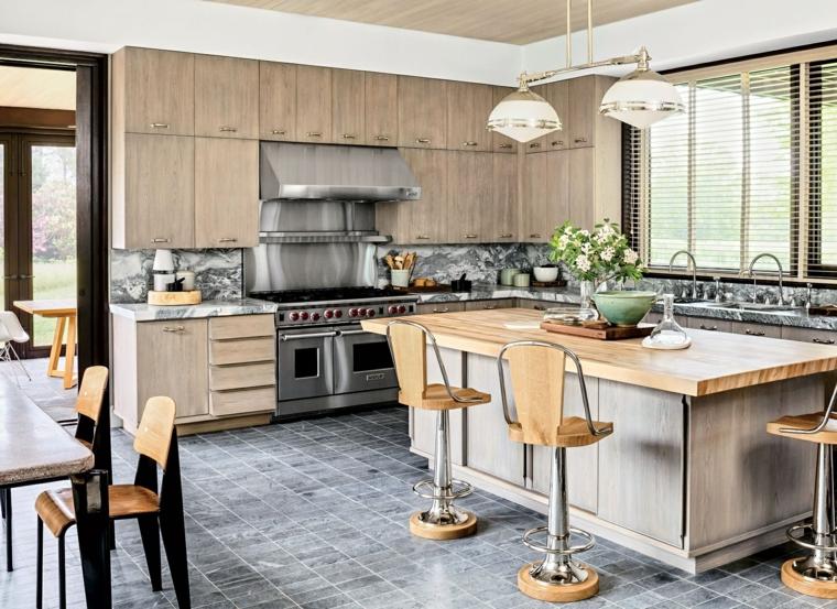 Moderno Silla Encimera De La Cocina Foto - Ideas Del Gabinete de ...