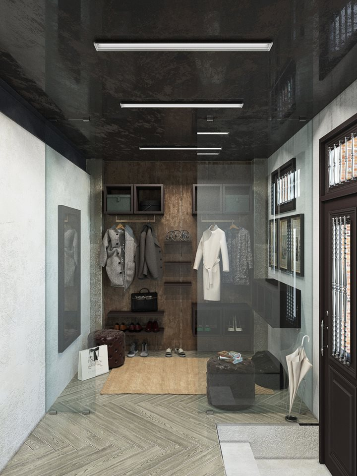 Rangements style dressing dans le hall d'entrée