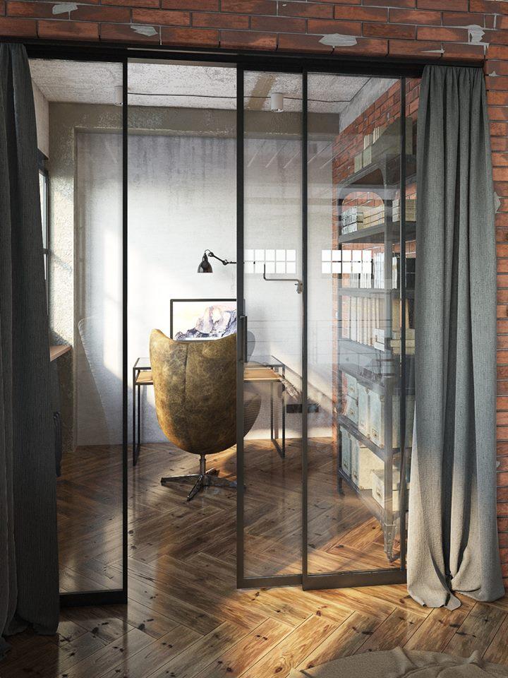 Bureau fermé par des portes vitrées