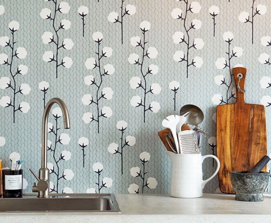 Decotips papel pintado en la cocina virlova style for Papel vinilico para pared