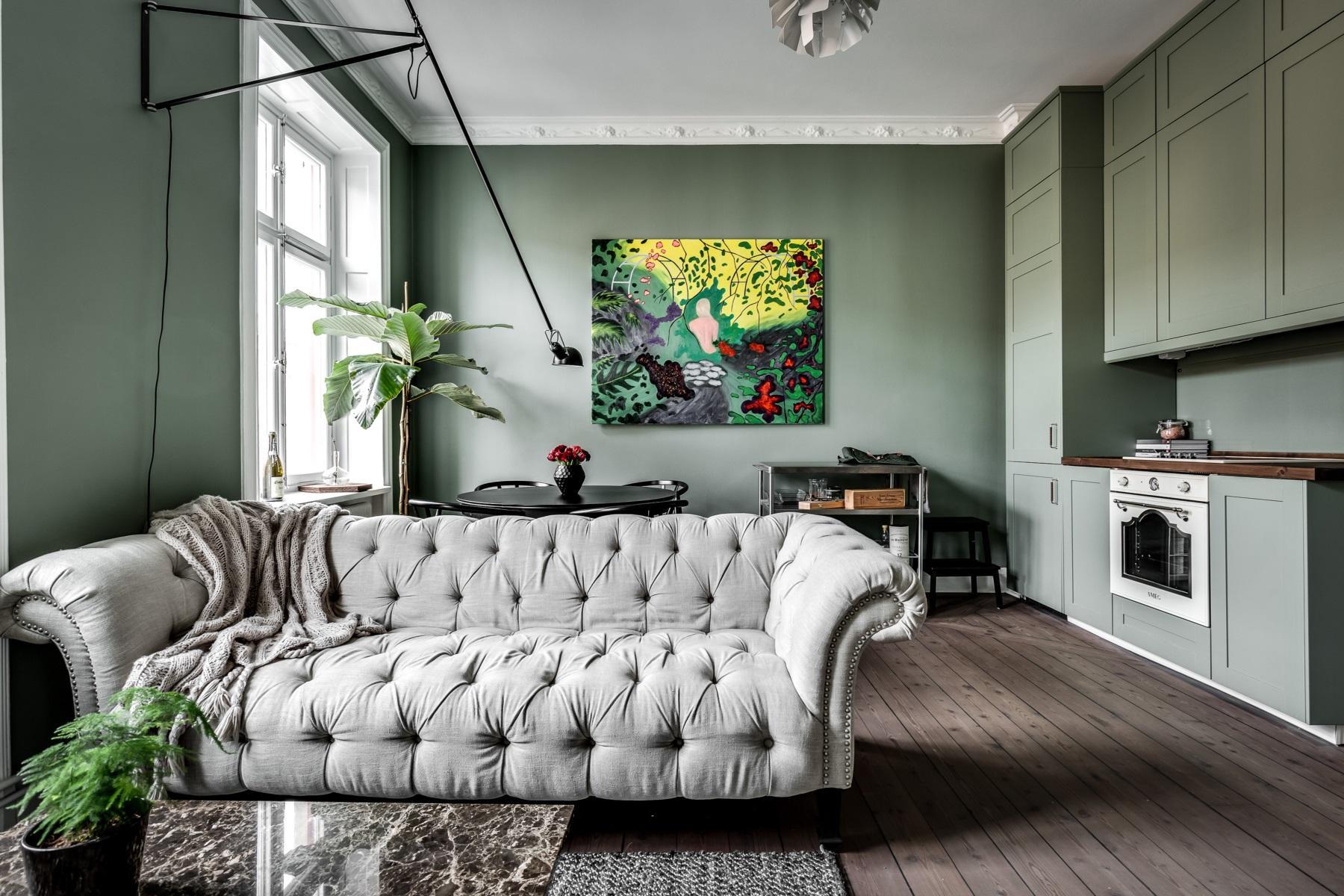 Deco ambientaci n en verde agua virlova style - Deco grijze muur ...