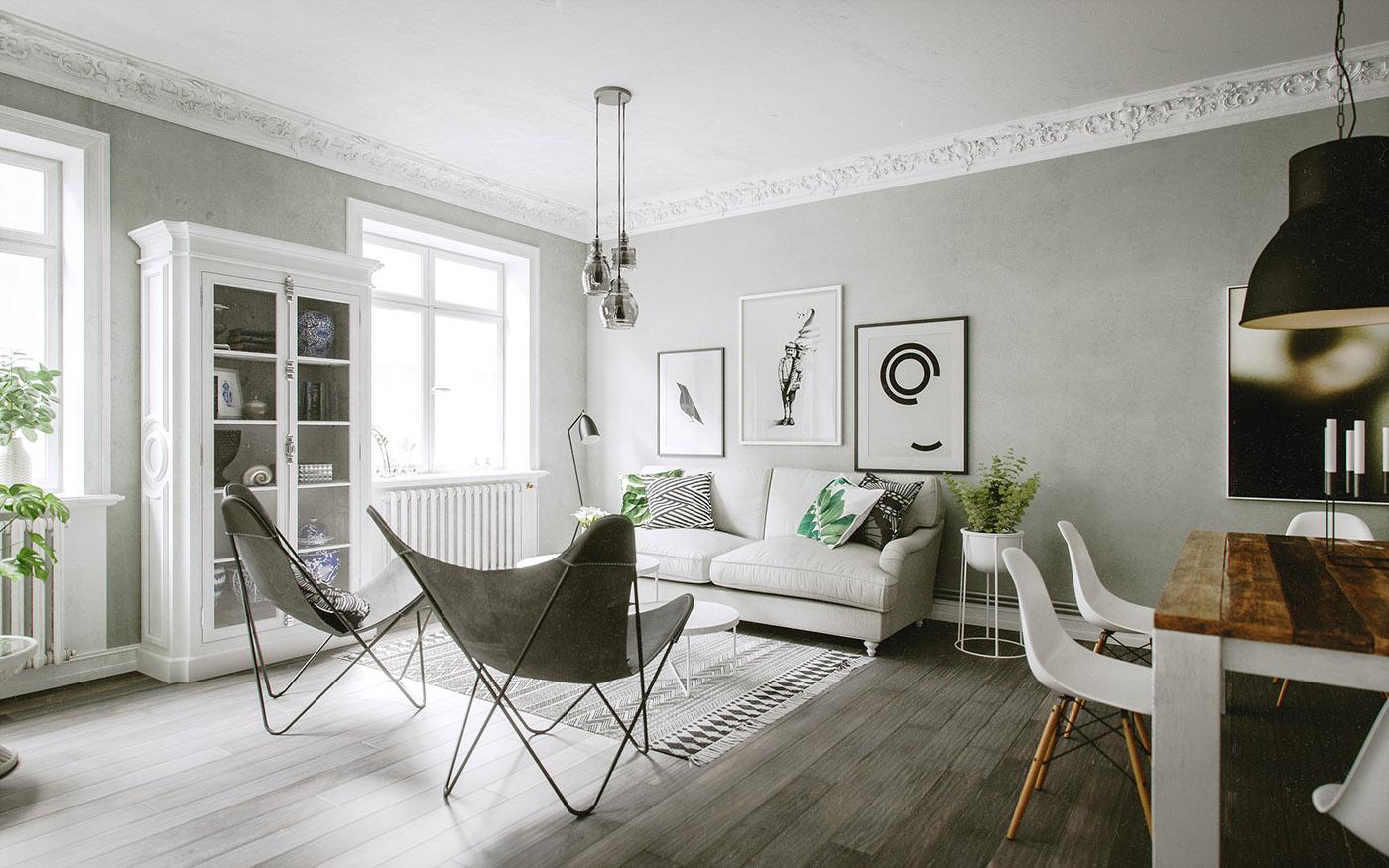 Deco en verde y gris virlova style for Corredor deco blanco y gris