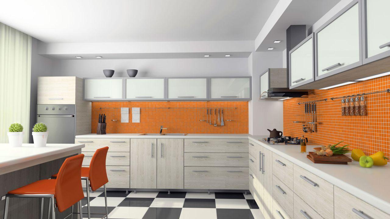 Lujo Pared De Acento De Color Naranja En La Cocina Bosquejo - Ideas ...